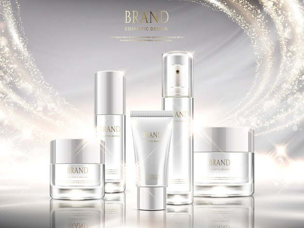 Parelwitte huidverzorgingsadvertenties, cosmetisch pakket met glinsterende lichteffecten in illustratie