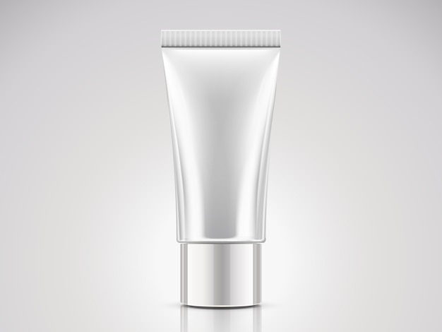 Parelwitte plastic buis, lege cosmetische container in afbeelding