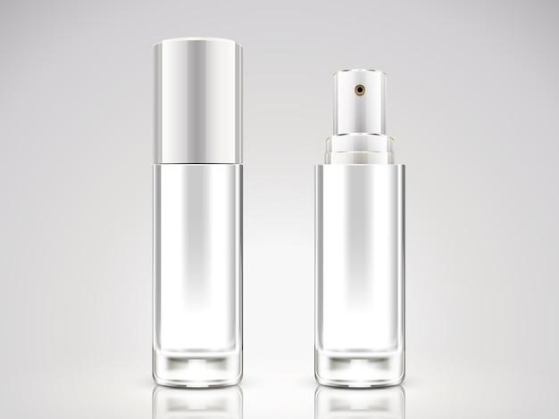 Parelwitte spuitfles, lege cosmetische fles in afbeelding
