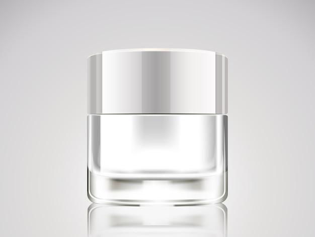Parelwitte zalfpotje, lege cosmetische container in afbeelding