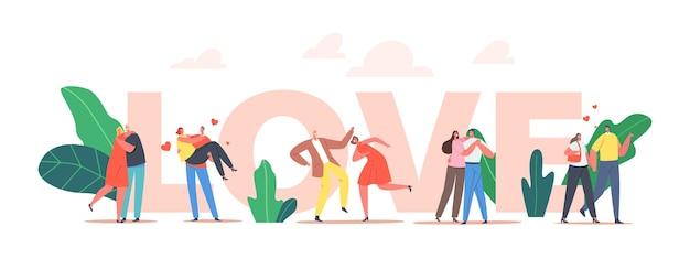 Paren in liefdesconcept. man en vrouw in liefdevolle relaties wandelen, vriend draagt meisje op handen, paar dans in restaurant, liefhebbers vrije tijd poster, spandoek, flyer. cartoon mensen vectorillustratie