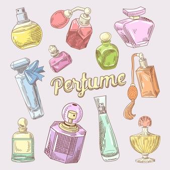 Parfum en cosmetica hand getrokken doodle met verschillende flessen