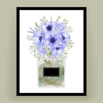 Parfum met anemoon bloem aquarel illustratie