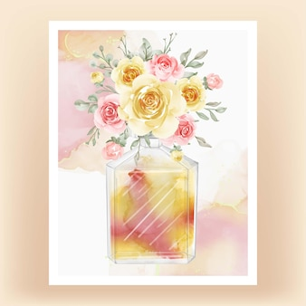Parfum met bloem gele perzik aquarel illustratie