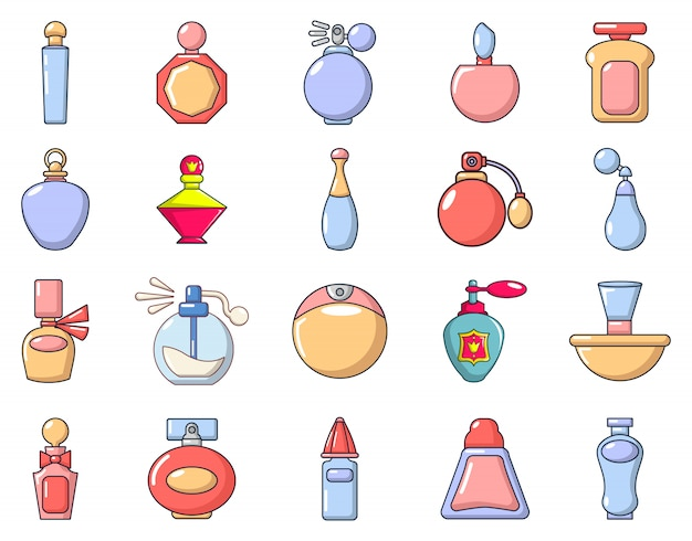 Parfum pictogramserie. beeldverhaalreeks parfum vectorpictogrammen geplaatst geïsoleerd