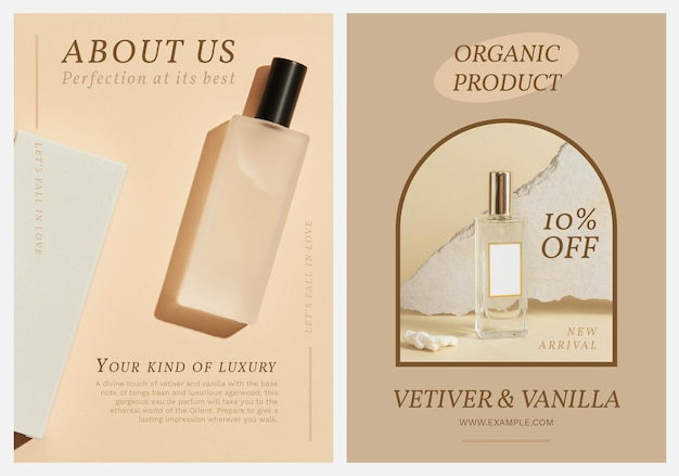Parfum poster sjabloon vector set