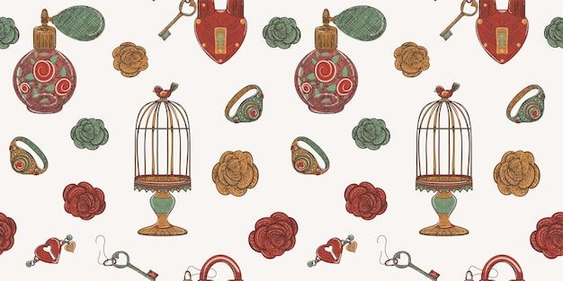 Parfum van liefde naadloze patroon van oude vintage dingen