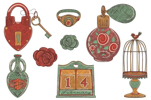 Parfum van vintage love, set decoratief object in de trend van de oude school, met de hand getekende illustratie