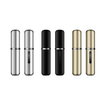 Parfum verstuiver. realistische compacte zilveren, zwarte, gouden spuitkoffer voor geur met plaats voor uw logo. gesloten en open verpakking