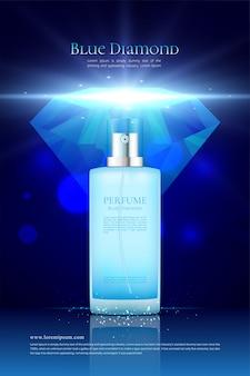 Parfumadvertenties met blauwe diamant voor mannen
