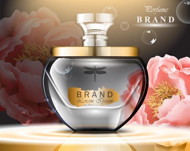 Parfumflesje met delicate rozengeur. realistische vector product gouden verpakking ontwerp mo