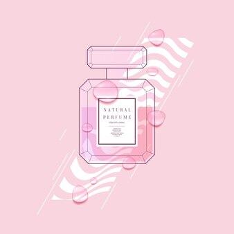 Parfumflesje met geometrisch patroon. heldere moderne poster voor reclame en verkoop geur. vector illustratie