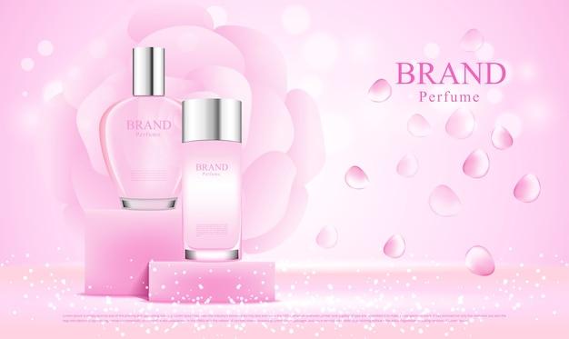 Parfumflesjes op displaystandaard, reclameontwerp