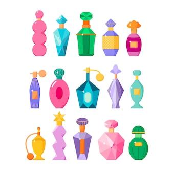 Parfumflesjes stellen verschillende geurflessen met glitters in geurige wateren in vlakke stijl vector