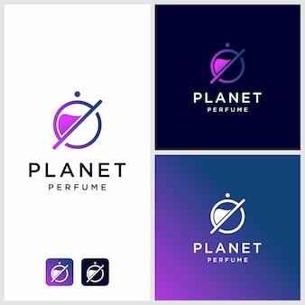 Parfumlogo-ontwerp met planeetomtrek, unieke, moderne premium
