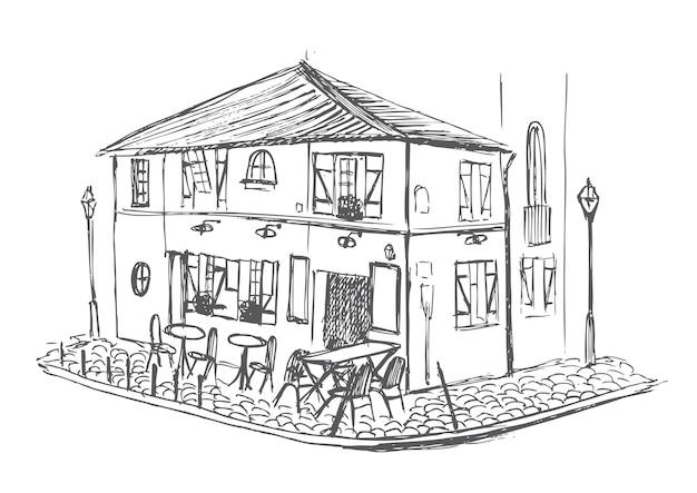 Parijs café schets hand getekende illustratie