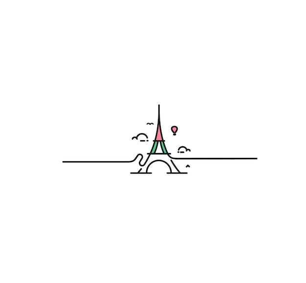 Parijs, eiffeltoren, parijs cartoon kunst, briefkaart, line art vectorillustratie