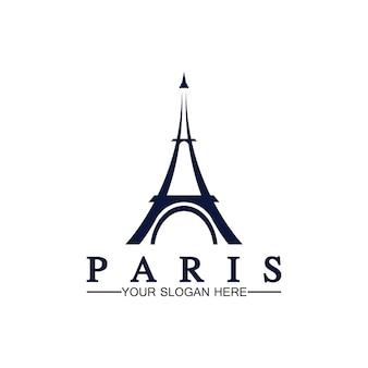 Parijs en eiffeltoren logo vector pictogram illustrator ontwerpsjabloon
