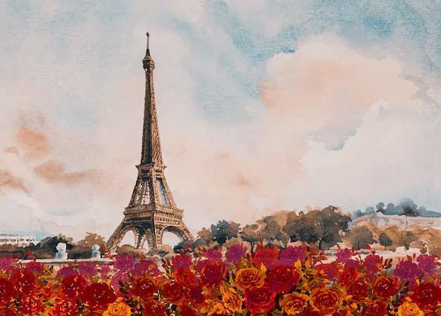 Parijs europese stad landschap frankrijk eiffeltoren met rode rozen in de herfst aquarel schilderij