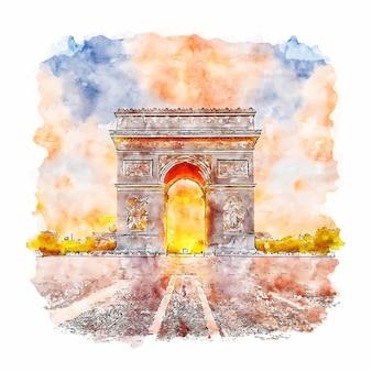 Parijs frankrijk aquarel schets