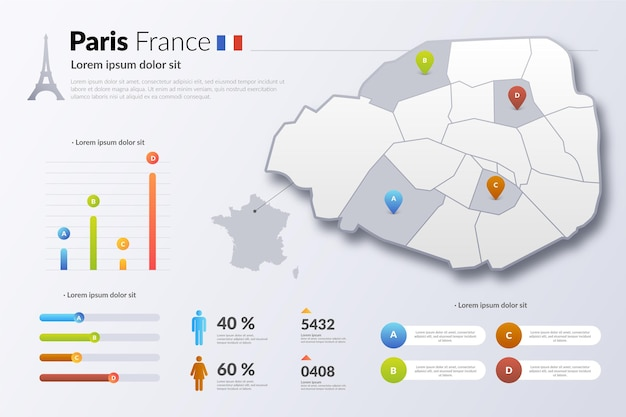 Parijs frankrijk kleurovergang kaart infographic