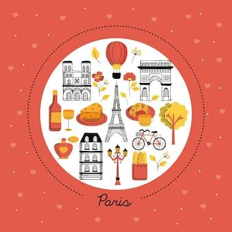 Parijs pictogrammen in cirkel
