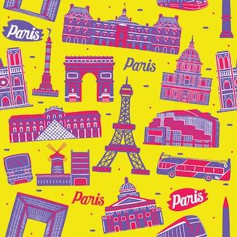 Parijs stad naadloos patroon met oriëntatiepunten elementen
