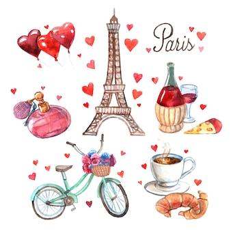 Parijs symbolen aquarel pictogrammen samenstelling
