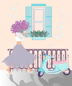 Parijse meisje. meisje lavendel bloemen en bromfiets. vector illustratie.