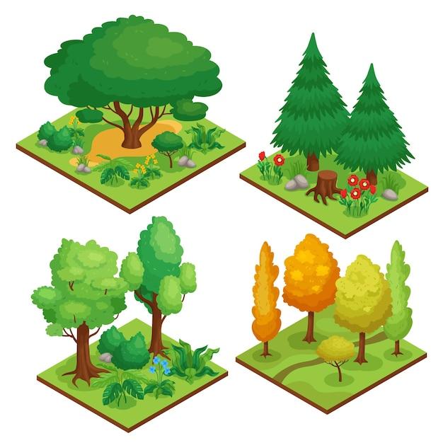 Park element composities set met herfst en zomer bomen isometrische geïsoleerde illustratie