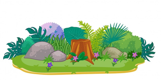 Park met groene planten