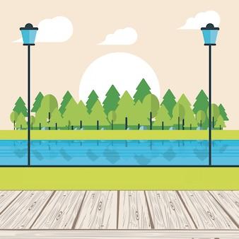 Park met rivier en bomen