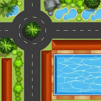 Park met zwembad en vijvers