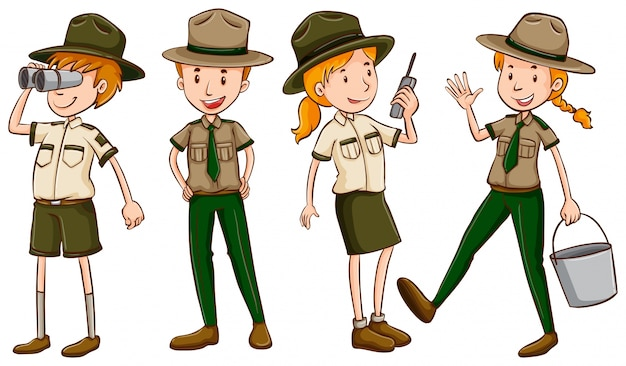 Park rangers in bruine uniforme illustratie