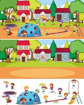 Park scène set met veel kinderen doodle stripfiguur geïsoleerd
