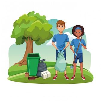 Park schoonmaak vrijwilligers