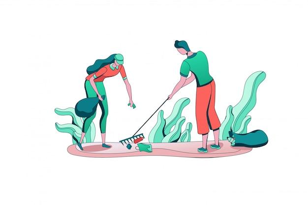Park schoonmaken van mensen met tas, vrijwilligers plukken en sorteren van afval