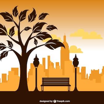 Park silhouet vector kunst