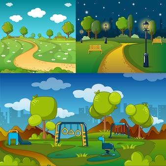 Park steegje manier banner concept set