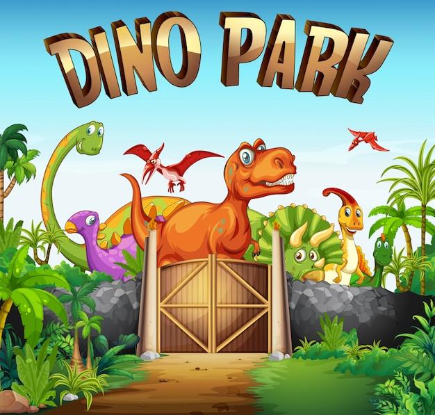 Park vol met dinosaurussen