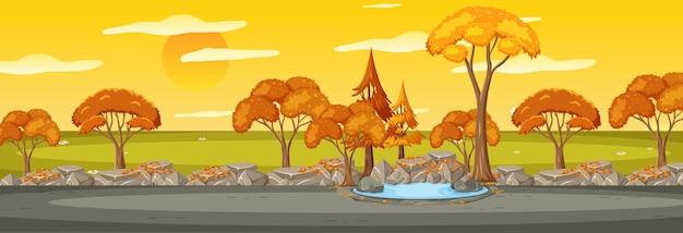 Parkeer in de horizontale scène van het herfstseizoen bij zonsondergang