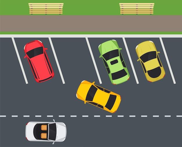 Parkeer met parkeerplaatsen, auto belt in op parking.