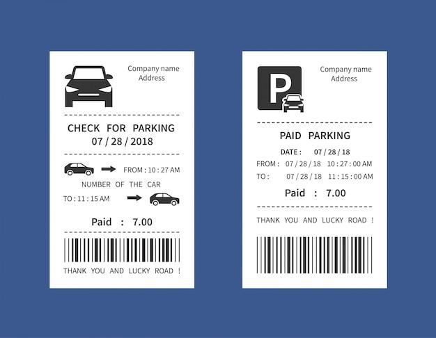 Parkeerkaart, geld boete ontvangst vectorillustratie geïsoleerd