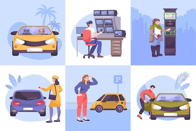 Parkeerset van vierkante composities met vlakke menselijke karakters van de bewaker van de bestuurdersparkeerplaats en de illustratie van auto's