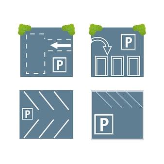Parkeerterreinen pictogram ingesteld op witte achtergrond kleurrijk ontwerp Premium Vector