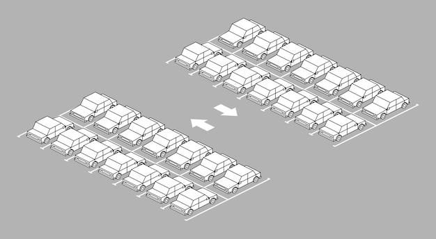 Parkeerterreinhoogtepunt met pijl op weg zwart-witte kleur op grijze achtergrond