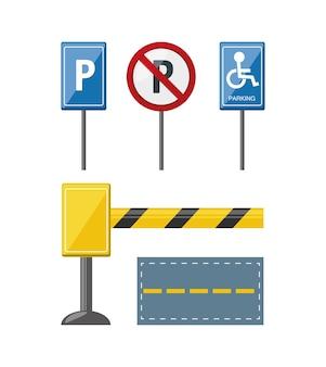 Parkeerzone gerelateerde pictogrammen