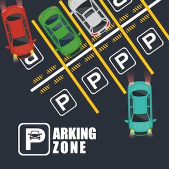 Parkeerzone luchtzichtscène