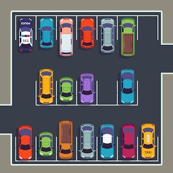 Parkeren bovenaanzicht. veel auto's op parkeerzone, verschillende voertuigen op geparkeerde parkeerplaats van bovenaf. auto vector infographic