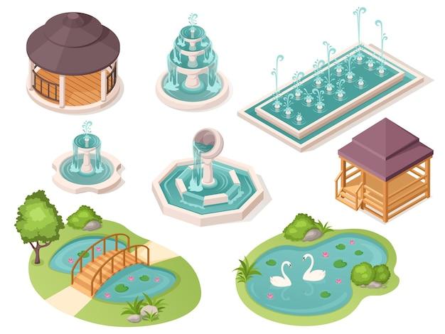 Parkfonteinen, tuinvijvers en tuinhuisjes, vector geïsoleerde isometrische constructorelementen